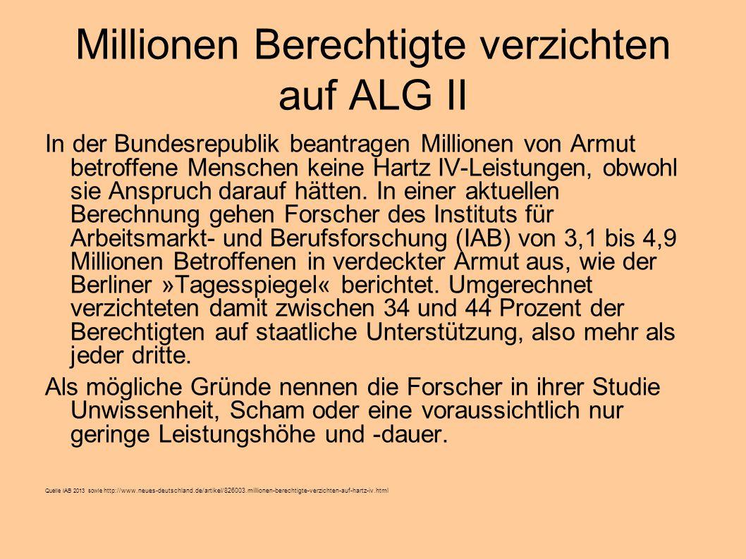 Millionen Berechtigte verzichten auf ALG II In der Bundesrepublik beantragen Millionen von Armut betroffene Menschen keine Hartz IV-Leistungen, obwohl