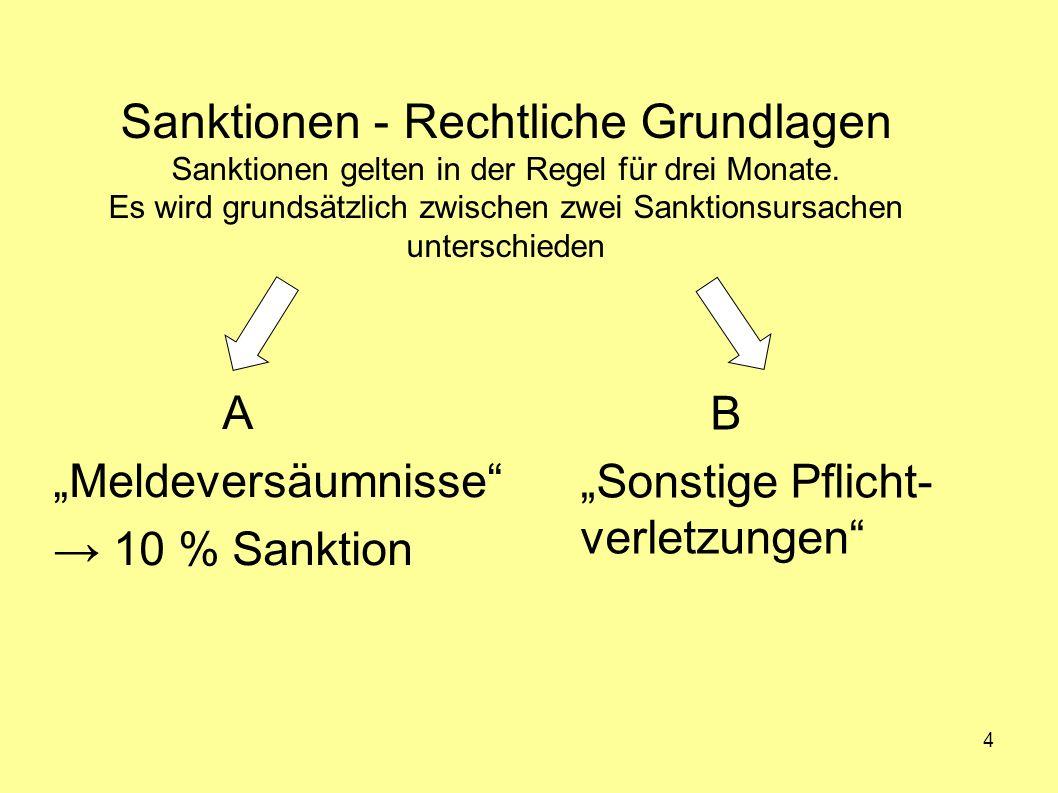 4 Sanktionen - Rechtliche Grundlagen Sanktionen gelten in der Regel für drei Monate. Es wird grundsätzlich zwischen zwei Sanktionsursachen unterschied
