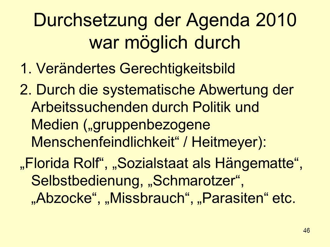 46 Durchsetzung der Agenda 2010 war möglich durch 1. Verändertes Gerechtigkeitsbild 2. Durch die systematische Abwertung der Arbeitssuchenden durch Po