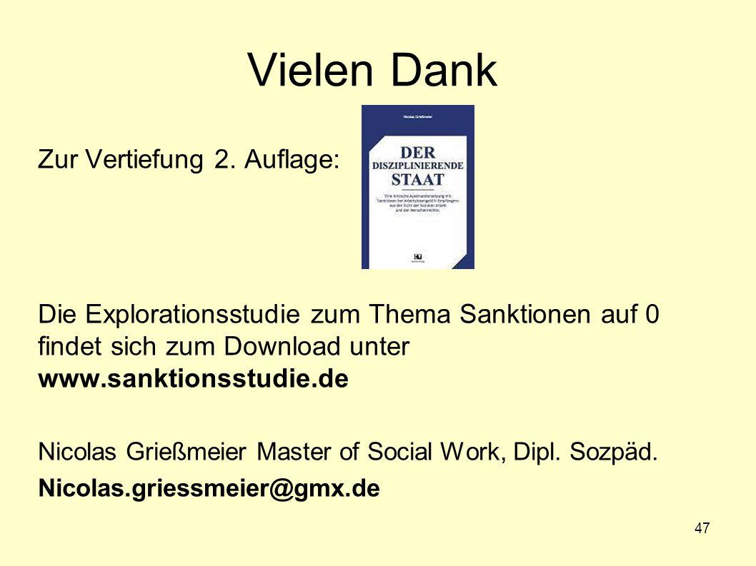 47 Vielen Dank Zur Vertiefung 2. Auflage: Die Explorationsstudie zum Thema Sanktionen auf 0 findet sich zum Download unter www.sanktionsstudie.de Nico