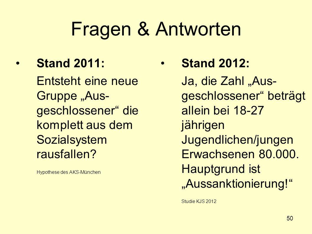 """50 Fragen & Antworten Stand 2011: Entsteht eine neue Gruppe """"Aus- geschlossener"""" die komplett aus dem Sozialsystem rausfallen? Hypothese des AKS-Münch"""