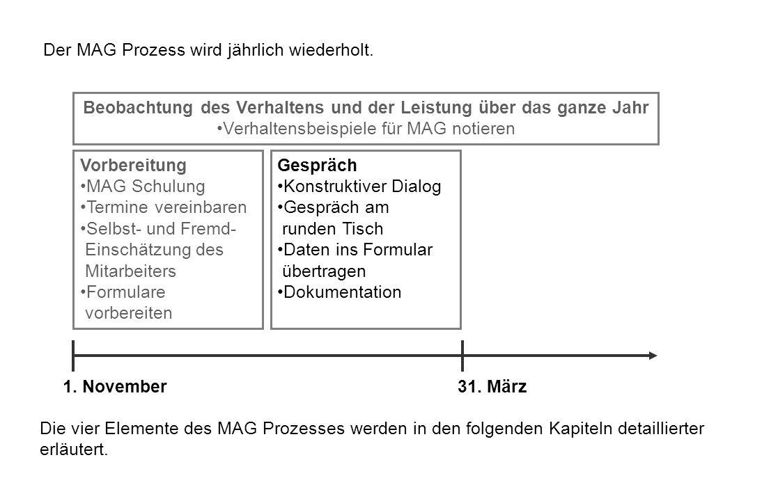 Der MAG Prozess wird jährlich wiederholt. Die vier Elemente des MAG Prozesses werden in den folgenden Kapiteln detaillierter erläutert. Beobachtung de