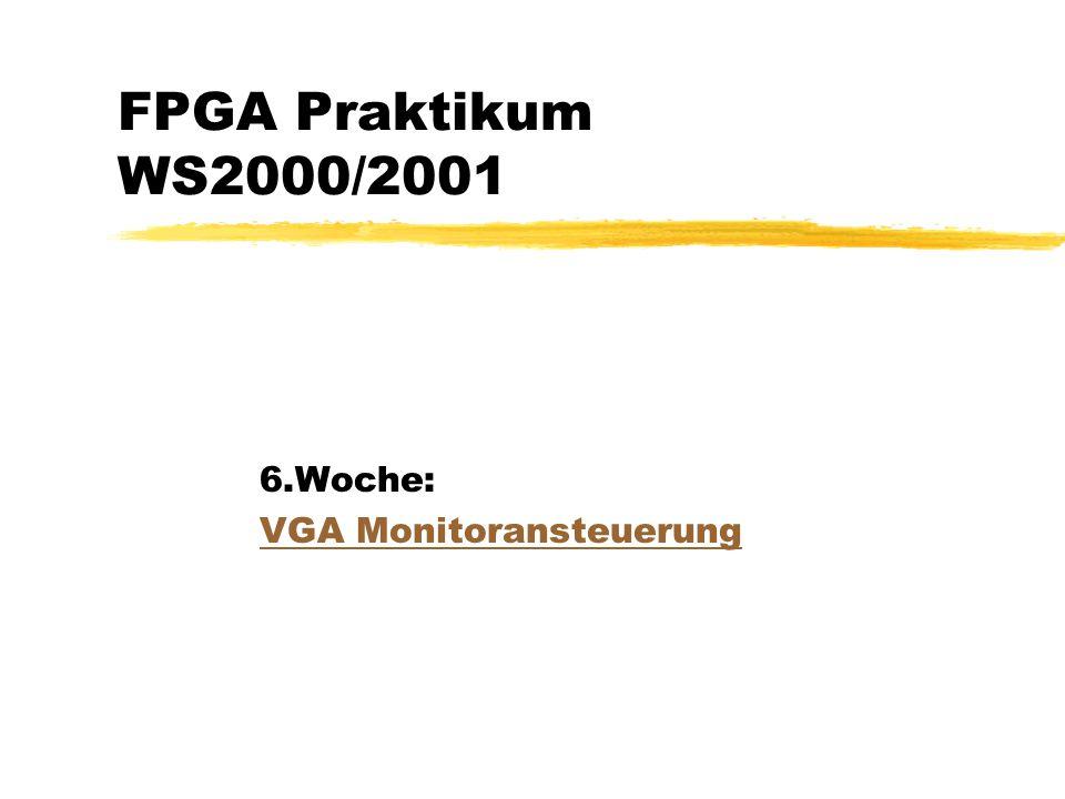 VGA Grafik zPrinzip einer Braunschen-Röhre zVGA Signale zAnschluß an den FPGA zAufgaben