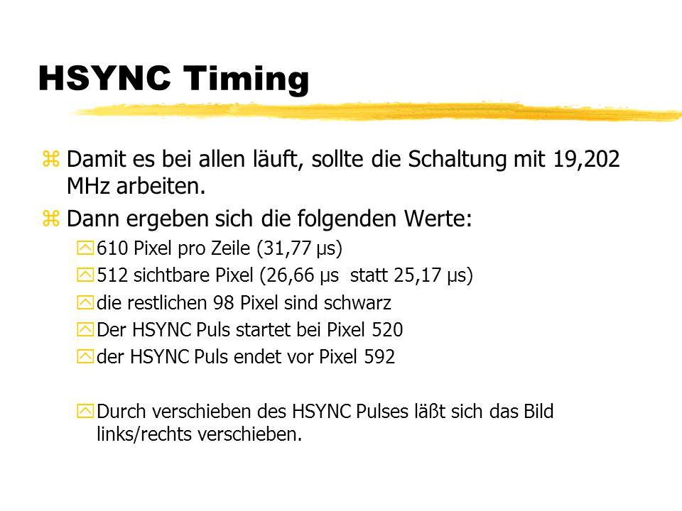 HSYNC Timing zDamit es bei allen läuft, sollte die Schaltung mit 19,202 MHz arbeiten. zDann ergeben sich die folgenden Werte: y610 Pixel pro Zeile (31