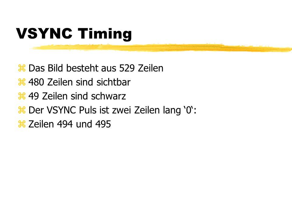 VSYNC Timing zDas Bild besteht aus 529 Zeilen z480 Zeilen sind sichtbar z49 Zeilen sind schwarz zDer VSYNC Puls ist zwei Zeilen lang '0': zZeilen 494