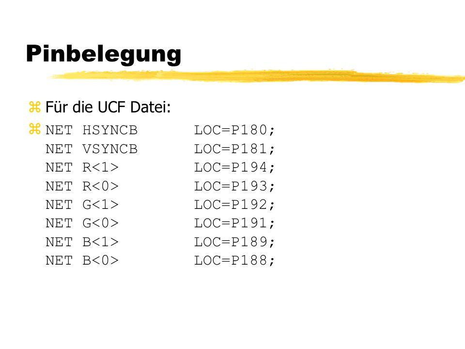 Pinbelegung  Für die UCF Datei: zNET HSYNCB LOC=P180; NET VSYNCB LOC=P181; NET R LOC=P194; NET R LOC=P193; NET G LOC=P192; NET G LOC=P191; NET B LOC=