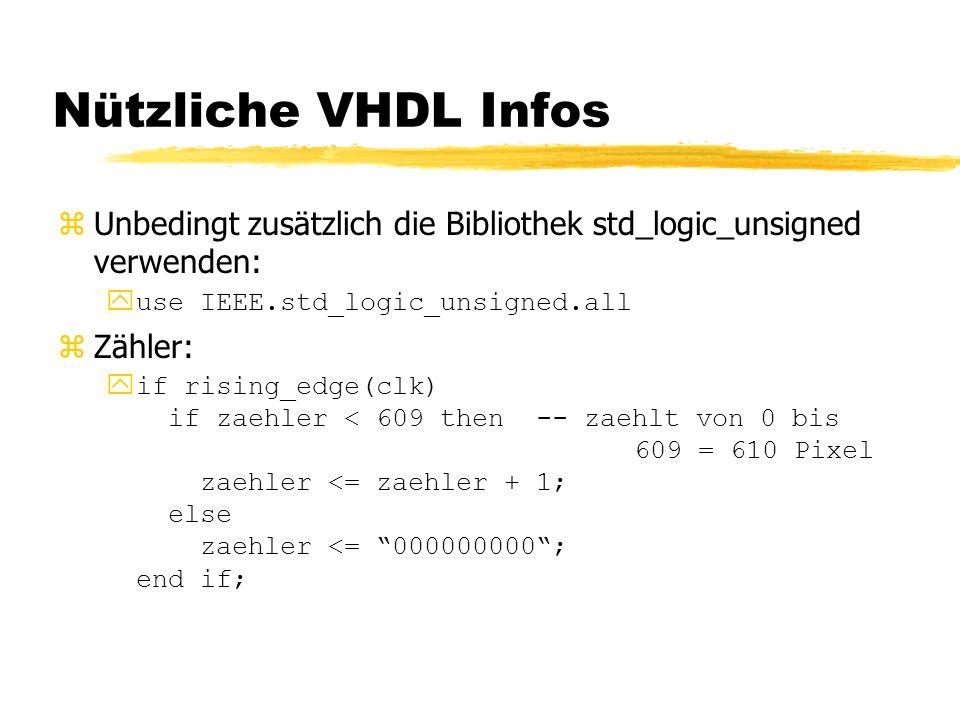 Nützliche VHDL Infos zUnbedingt zusätzlich die Bibliothek std_logic_unsigned verwenden:  use IEEE.std_logic_unsigned.all zZähler: yif rising_edge(clk