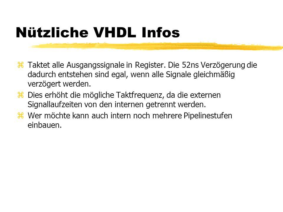 Nützliche VHDL Infos zTaktet alle Ausgangssignale in Register. Die 52ns Verzögerung die dadurch entstehen sind egal, wenn alle Signale gleichmäßig ver