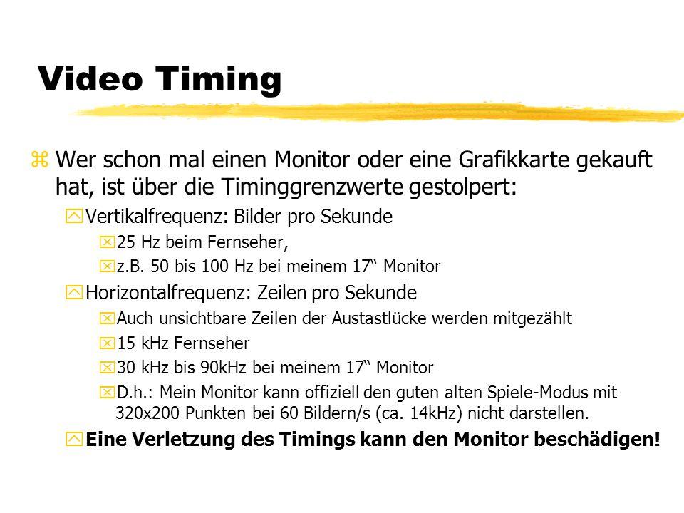 Video Timing zWer schon mal einen Monitor oder eine Grafikkarte gekauft hat, ist über die Timinggrenzwerte gestolpert: yVertikalfrequenz: Bilder pro S