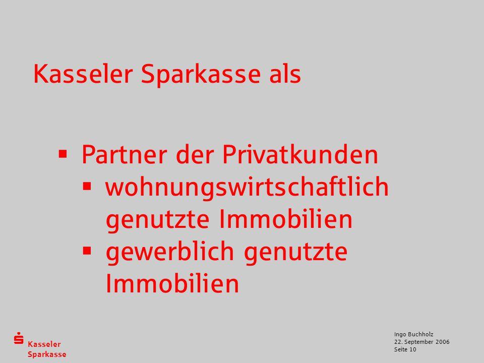  Kasseler Sparkasse 22. September 2006 Ingo Buchholz Seite 10 Kasseler Sparkasse als  Partner der Privatkunden  wohnungswirtschaftlich genutzte Imm