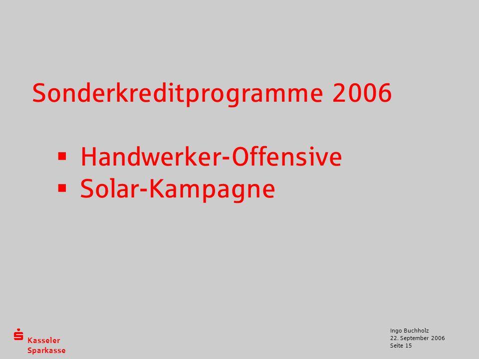  Kasseler Sparkasse 22. September 2006 Ingo Buchholz Seite 15 Sonderkreditprogramme 2006  Handwerker-Offensive  Solar-Kampagne