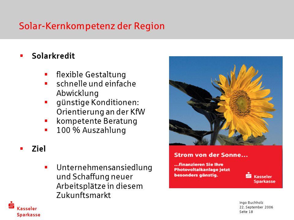  Kasseler Sparkasse 22. September 2006 Ingo Buchholz Seite 18  Solarkredit  flexible Gestaltung  schnelle und einfache Abwicklung  günstige Kondi
