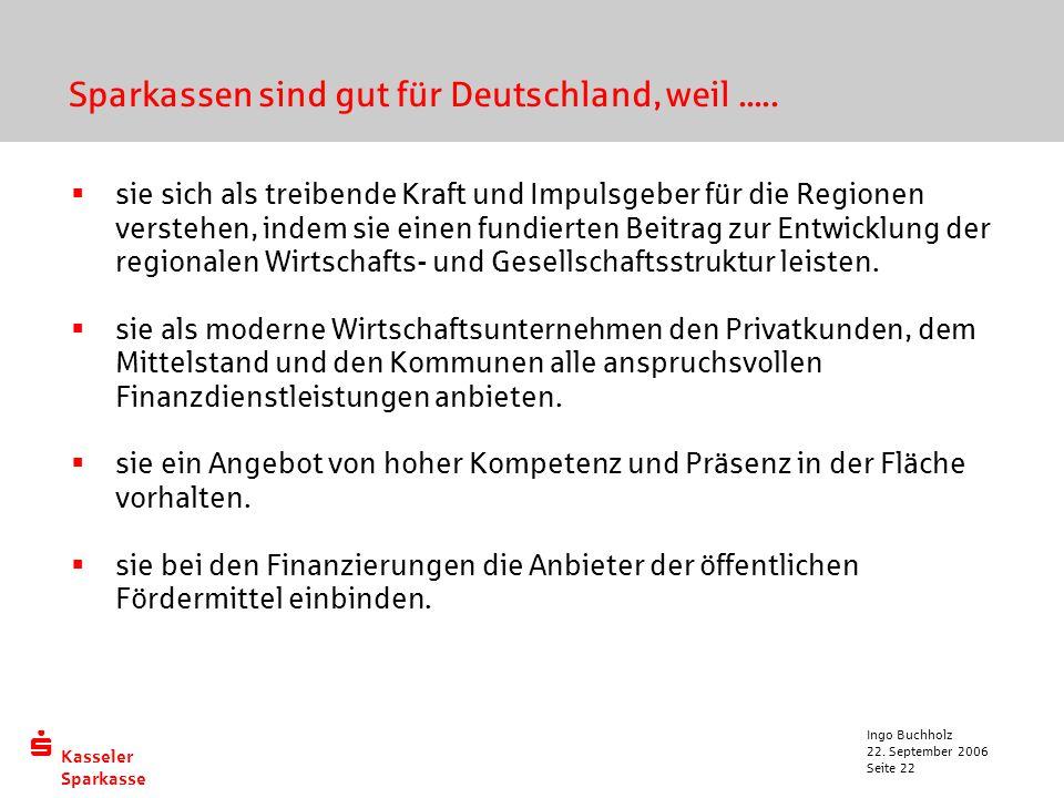  Kasseler Sparkasse 22. September 2006 Ingo Buchholz Seite 22  sie sich als treibende Kraft und Impulsgeber für die Regionen verstehen, indem sie ei