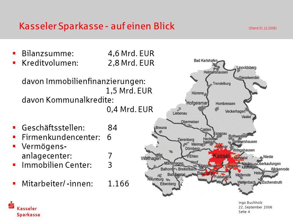 Kasseler Sparkasse 22. September 2006 Ingo Buchholz Seite 4 Kasseler Sparkasse - auf einen Blick (Stand 31.12.2005)  Bilanzsumme: 4,6 Mrd. EUR  Kr