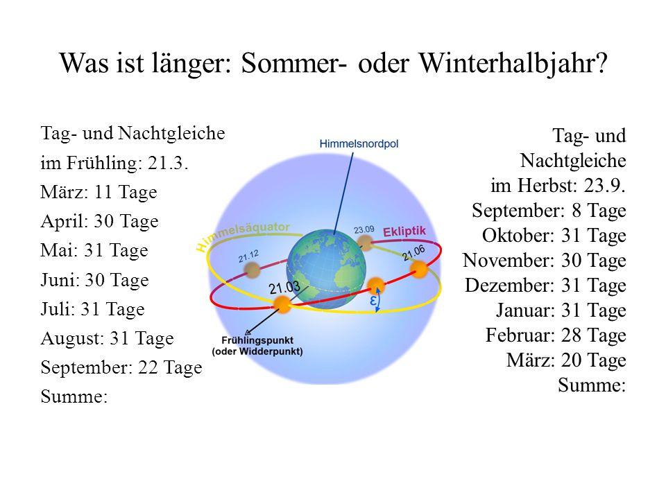Was ist länger: Sommer- oder Winterhalbjahr.Tag- und Nachtgleiche im Frühling: 21.3.