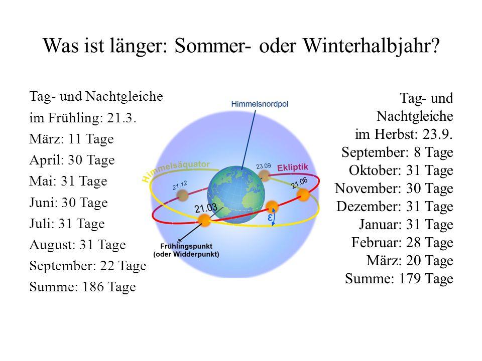 Warum ist der Sommer auf der Nordhalbkugel länger.
