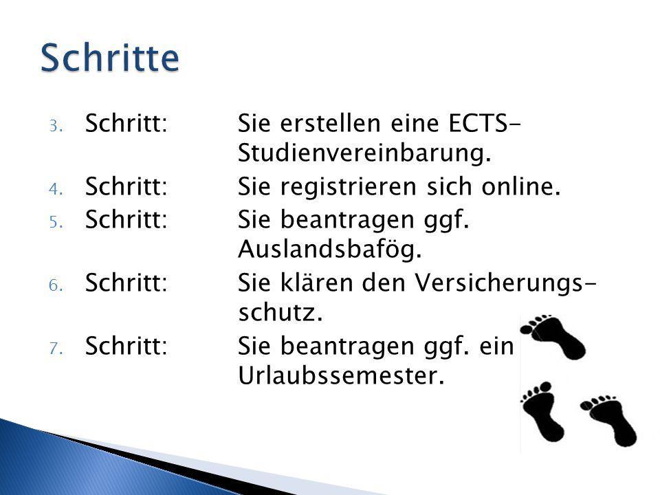 3. Schritt: Sie erstellen eine ECTS- Studienvereinbarung. 4. Schritt: Sie registrieren sich online. 5. Schritt:Sie beantragen ggf. Auslandsbafög. 6. S