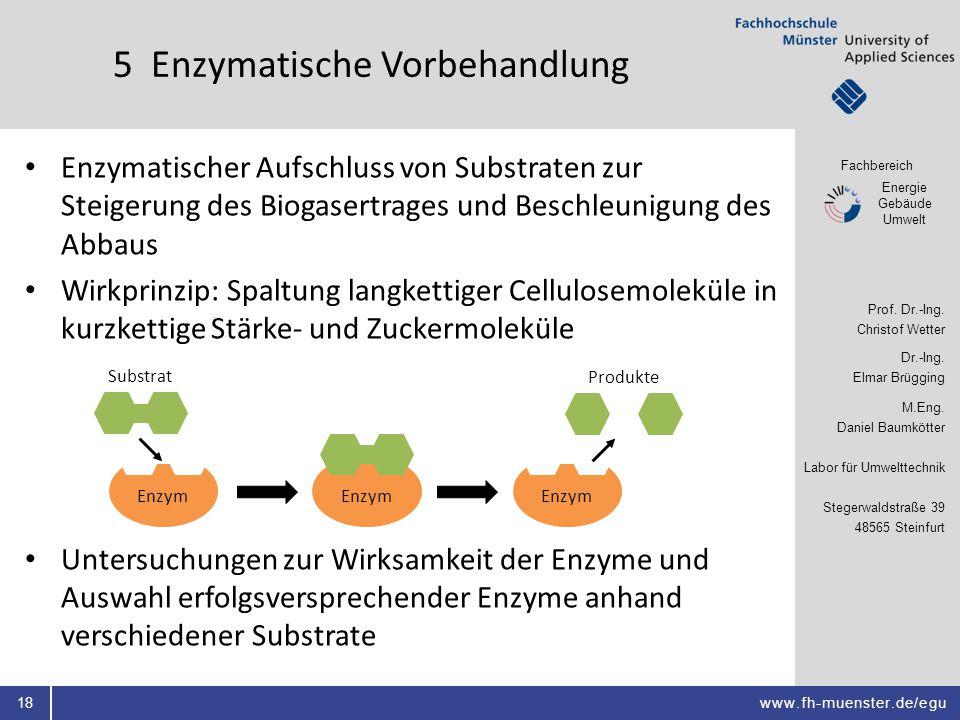 Fachbereich Energie Gebäude Umwelt Prof. Dr.-Ing. Christof Wetter Dr.-Ing. Elmar Brügging M.Eng. Daniel Baumkötter Labor für Umwelttechnik Stegerwalds