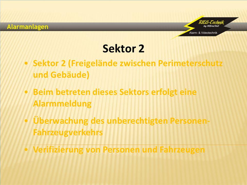 Sektor 2 Sektor 2 (Freigelände zwischen Perimeterschutz und Gebäude) Beim betreten dieses Sektors erfolgt eine Alarmmeldung Überwachung des unberechti