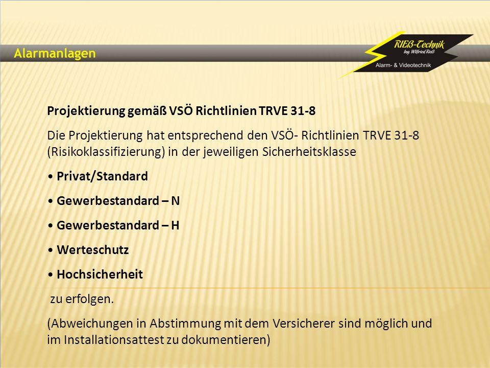 Projektierung gemäß VSÖ Richtlinien TRVE 31-8 Die Projektierung hat entsprechend den VSÖ- Richtlinien TRVE 31-8 (Risikoklassifizierung) in der jeweili