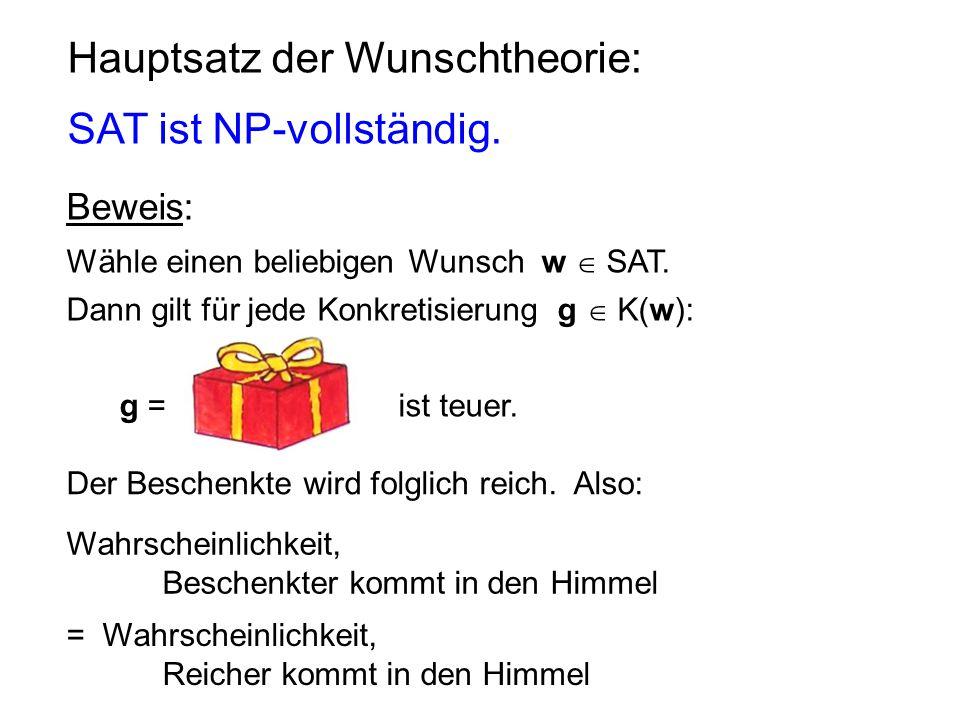 Hauptsatz der Wunschtheorie: SAT ist NP-vollständig. Beweis: Wähle einen beliebigen Wunsch w  SAT. Dann gilt für jede Konkretisierung g  K(w): g = i