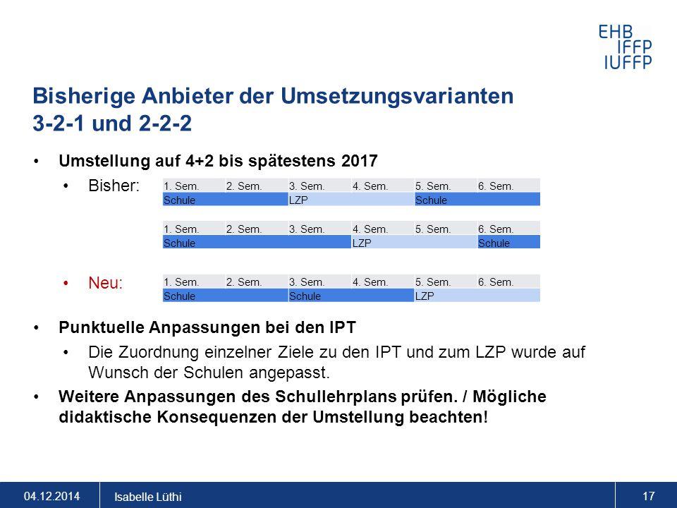 Bisherige Anbieter der Umsetzungsvarianten 3-2-1 und 2-2-2 Umstellung auf 4+2 bis spätestens 2017 Bisher: Neu: Punktuelle Anpassungen bei den IPT Die