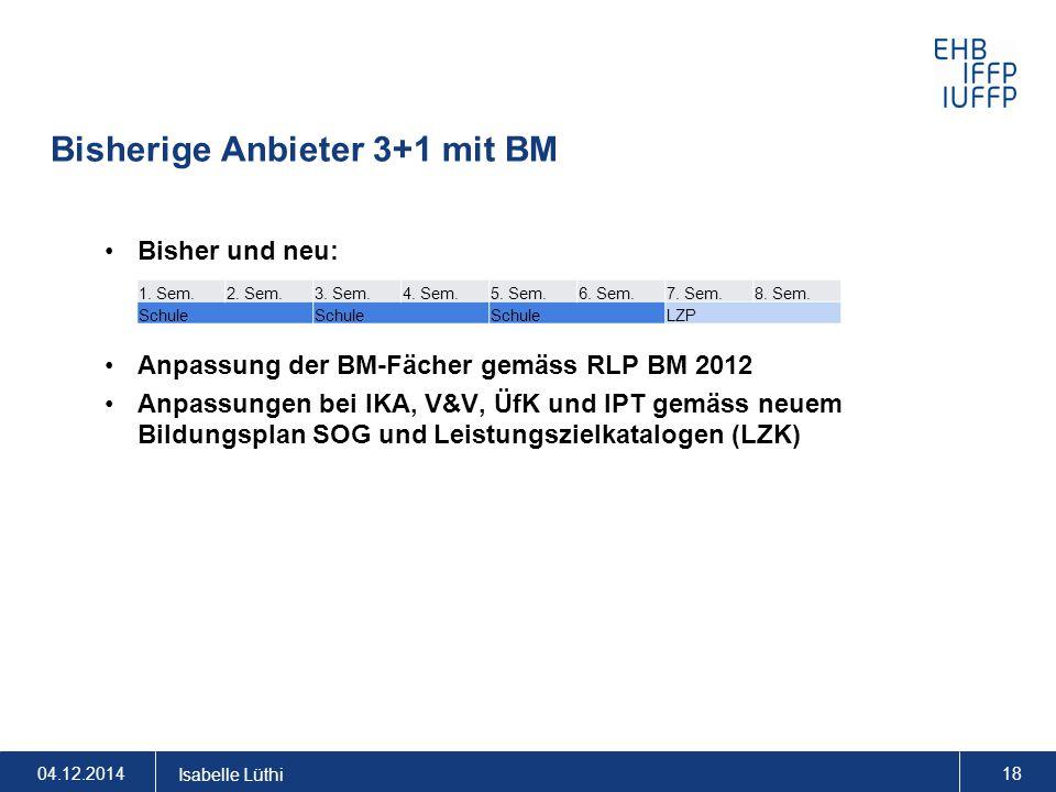 Bisherige Anbieter 3+1 mit BM Bisher und neu: Anpassung der BM-Fächer gemäss RLP BM 2012 Anpassungen bei IKA, V&V, ÜfK und IPT gemäss neuem Bildungspl