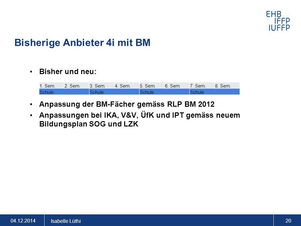 Bisherige Anbieter 4i mit BM Bisher und neu: Anpassung der BM-Fächer gemäss RLP BM 2012 Anpassungen bei IKA, V&V, ÜfK und IPT gemäss neuem Bildungspla
