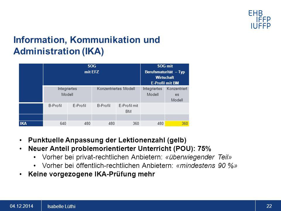 Information, Kommunikation und Administration (IKA) 04.12.2014 Isabelle Lüthi 22 Punktuelle Anpassung der Lektionenzahl (gelb) Neuer Anteil problemori