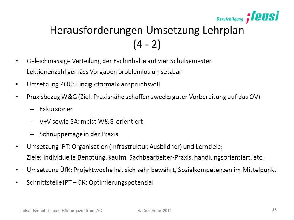 Herausforderungen Umsetzung Lehrplan (4 - 2) Geleichmässige Verteilung der Fachinhalte auf vier Schulsemester. Lektionenzahl gemäss Vorgaben problemlo