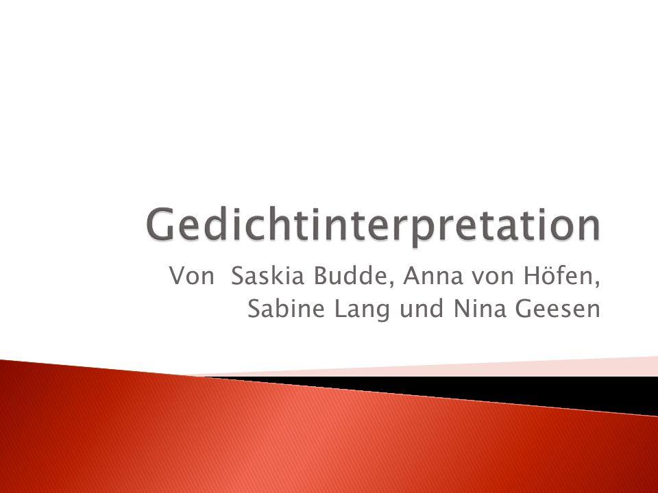 Von Saskia Budde, Anna von Höfen, Sabine Lang und Nina Geesen