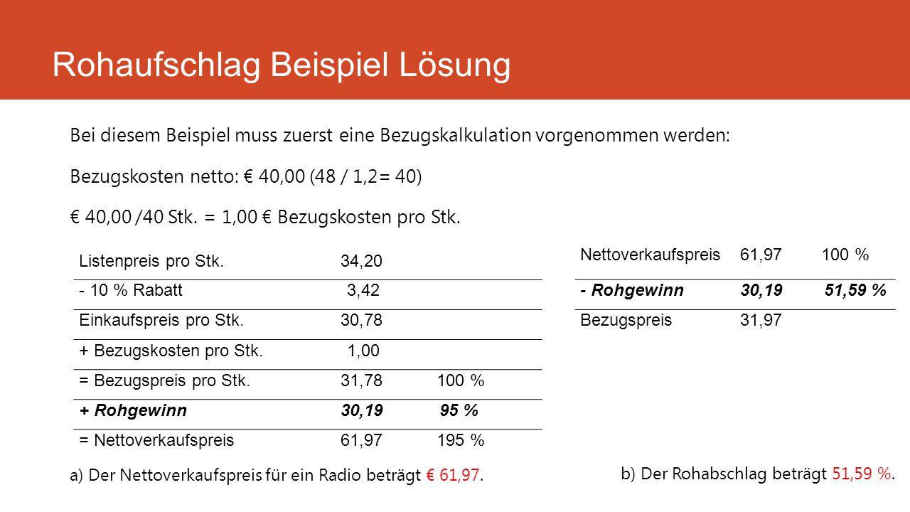 Bei diesem Beispiel muss zuerst eine Bezugskalkulation vorgenommen werden: Bezugskosten netto: € 40,00 (48 / 1,2= 40) € 40,00 /40 Stk. = 1,00 € Bezugs