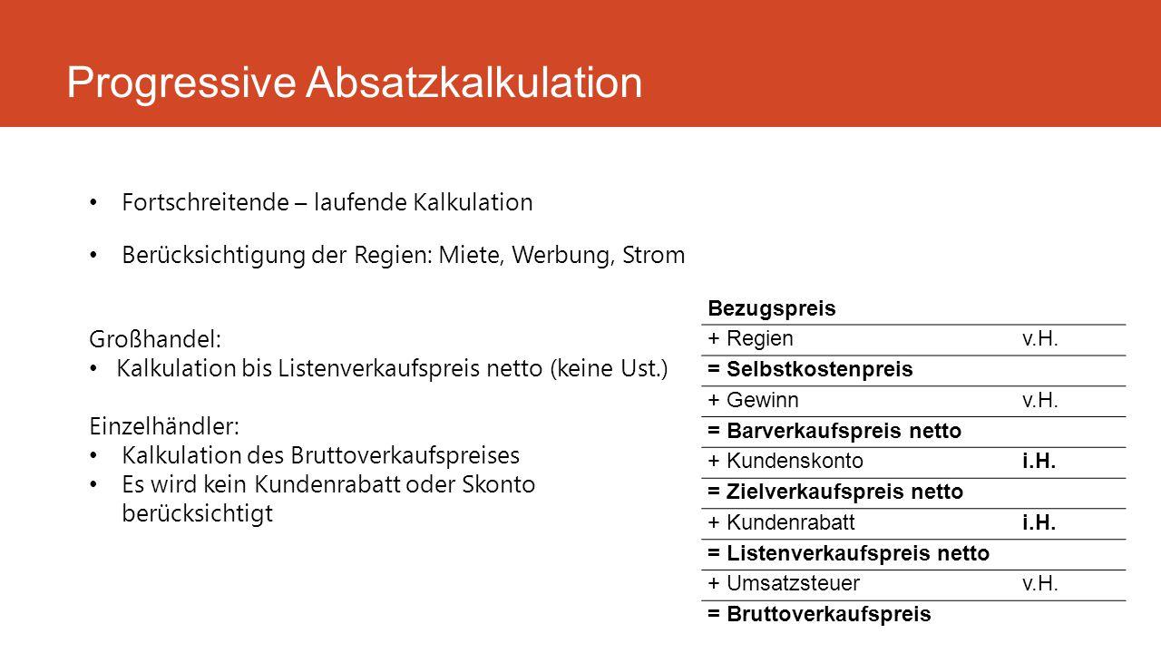 Fortschreitende – laufende Kalkulation Berücksichtigung der Regien: Miete, Werbung, Strom Progressive Absatzkalkulation Bezugspreis + Regienv.H. = Sel