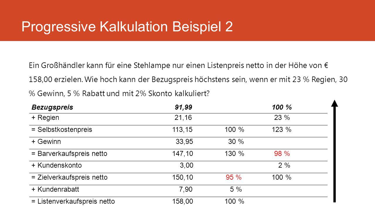 Ein Großhändler kann für eine Stehlampe nur einen Listenpreis netto in der Höhe von € 158,00 erzielen. Wie hoch kann der Bezugspreis höchstens sein, w