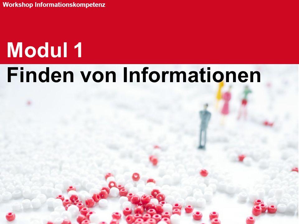 Seite 26 Workshop Informationskompetenz Modul 1 Finden von Informationen