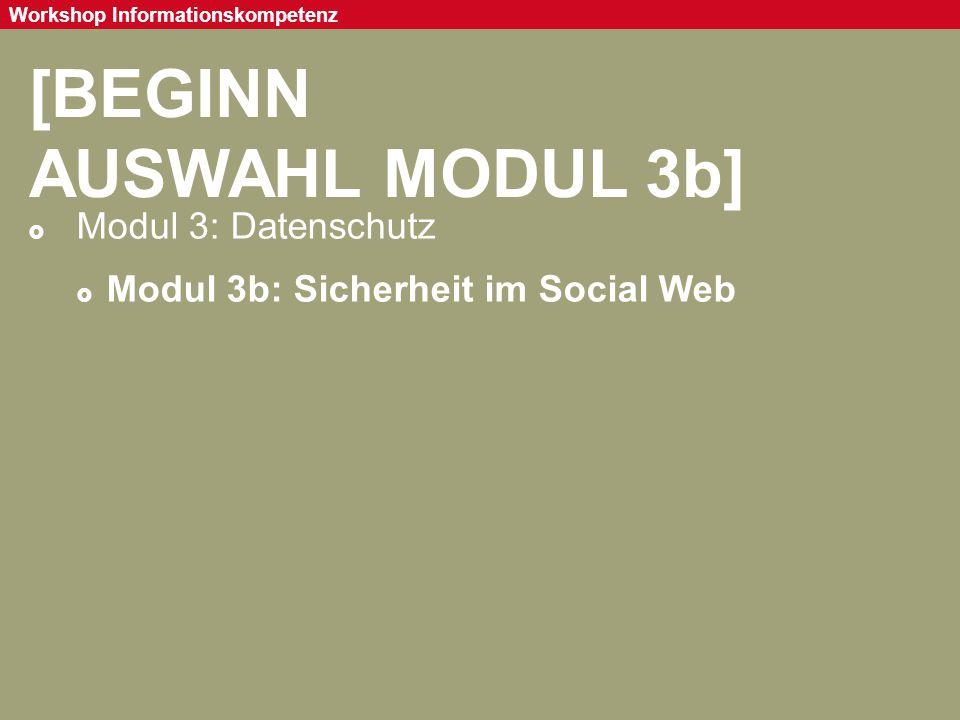Seite 87 Workshop Informationskompetenz [BEGINN AUSWAHL MODUL 3b]  Modul 3: Datenschutz  Modul 3b: Sicherheit im Social Web