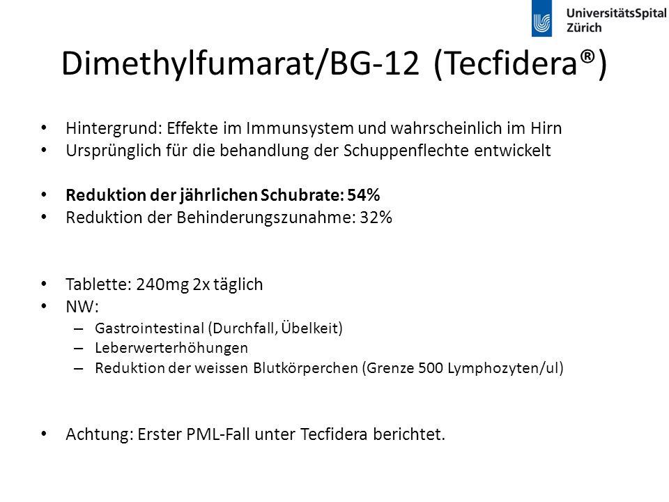 Dimethylfumarat/BG-12 (Tecfidera®) Hintergrund: Effekte im Immunsystem und wahrscheinlich im Hirn Ursprünglich für die behandlung der Schuppenflechte