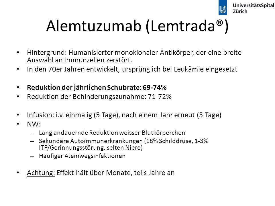 Alemtuzumab (Lemtrada®) Hintergrund: Humanisierter monoklonaler Antikörper, der eine breite Auswahl an Immunzellen zerstört. In den 70er Jahren entwic