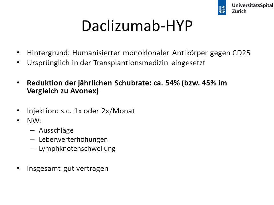 Daclizumab-HYP Hintergrund: Humanisierter monoklonaler Antikörper gegen CD25 Ursprünglich in der Transplantionsmedizin eingesetzt Reduktion der jährli