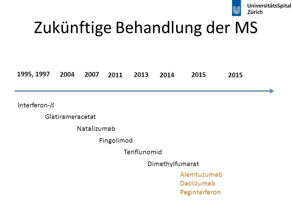 Zukünftige Behandlung der MS Interferon-  Glatirameracetat 1995, 1997 20042007 2013 Natalizumab 2011 Fingolimod 2014 Teriflunomid Dimethylfumarat 201