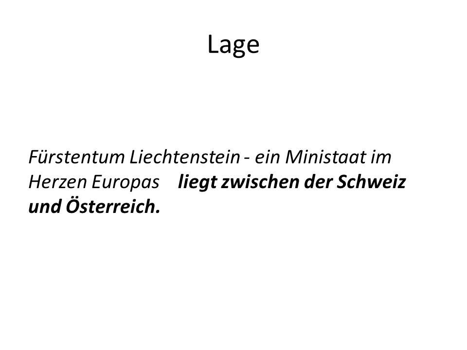 Lage Fürstentum Liechtenstein - ein Ministaat im Herzen Europas liegt zwischen der Schweiz und Österreich.