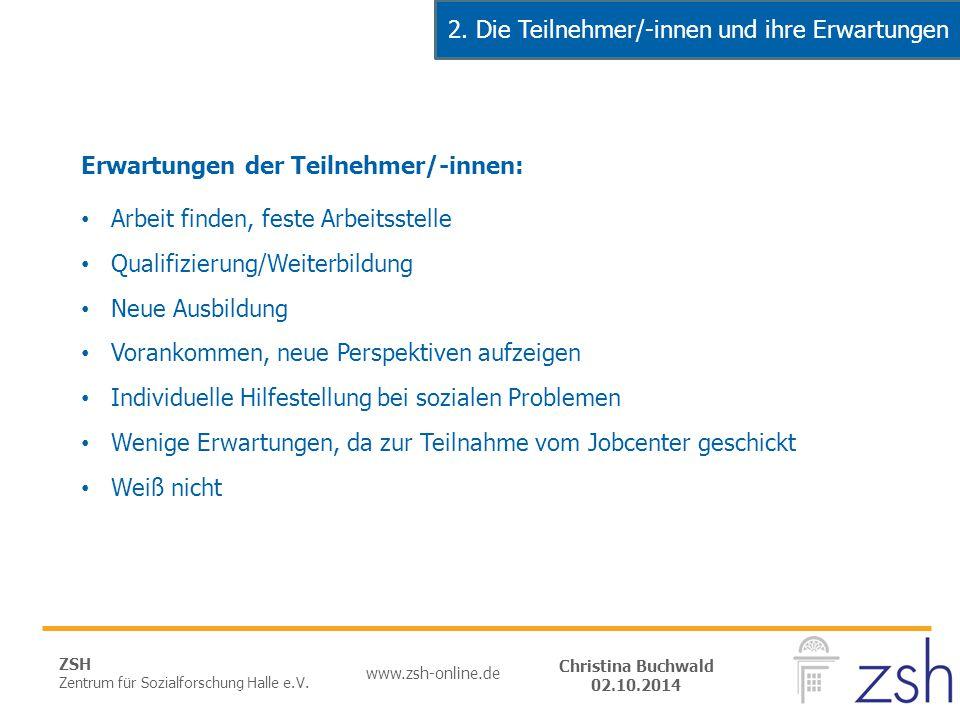 ZSH Zentrum für Sozialforschung Halle e.V. www.zsh-online.de Christina Buchwald 02.10.2014 Erwartungen der Teilnehmer/-innen: Arbeit finden, feste Arb