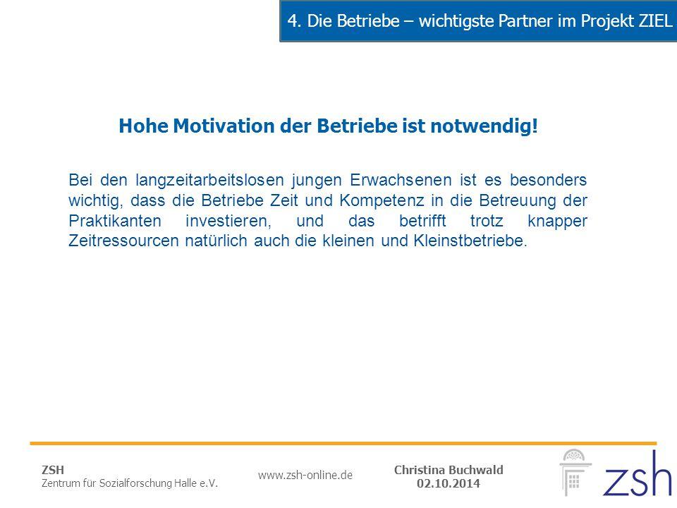 ZSH Zentrum für Sozialforschung Halle e.V. www.zsh-online.de Christina Buchwald 02.10.2014 Hohe Motivation der Betriebe ist notwendig! Bei den langzei