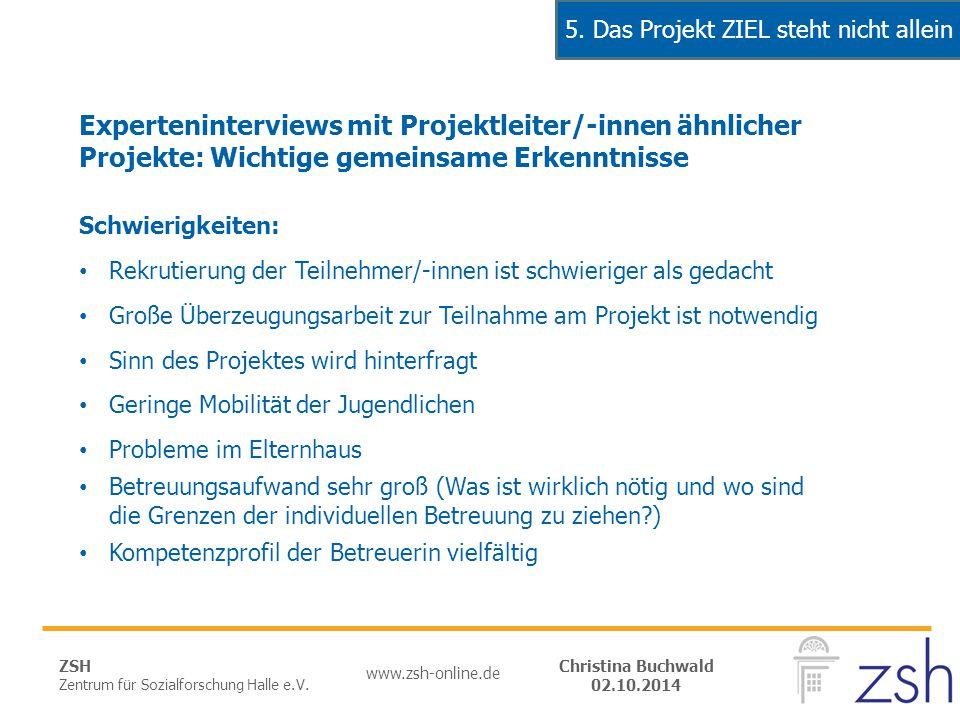 ZSH Zentrum für Sozialforschung Halle e.V. www.zsh-online.de Christina Buchwald 02.10.2014 Experteninterviews mit Projektleiter/-innen ähnlicher Proje