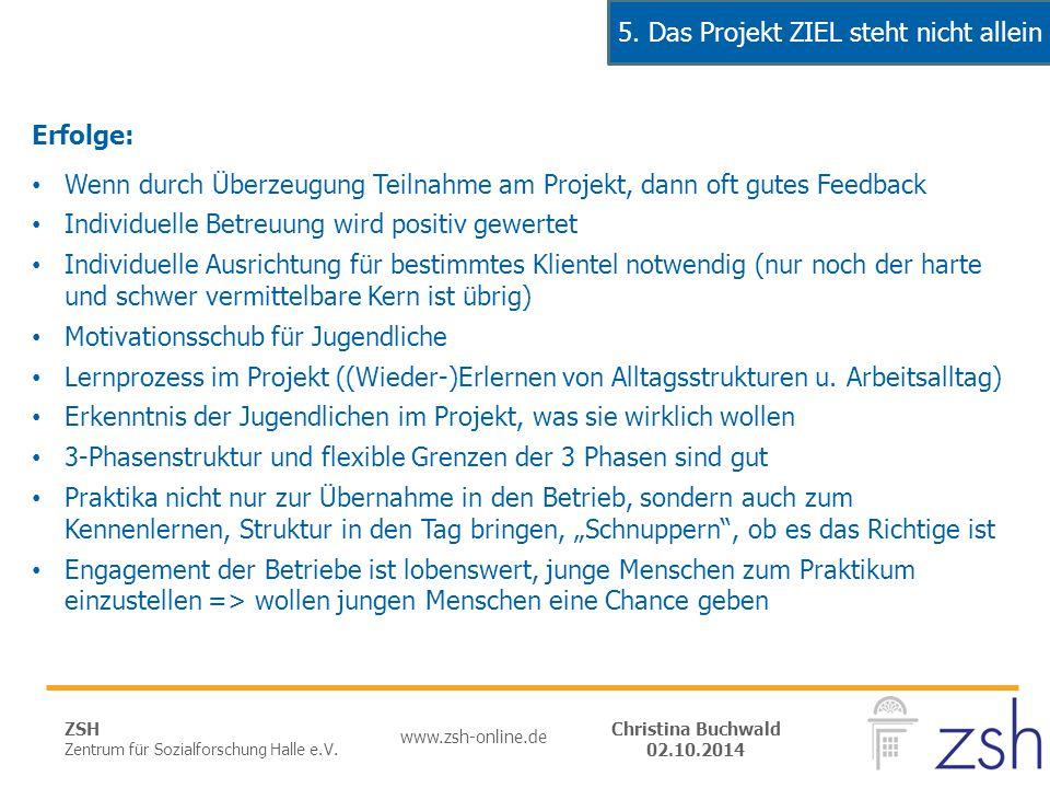 ZSH Zentrum für Sozialforschung Halle e.V. www.zsh-online.de Christina Buchwald 02.10.2014 Erfolge: Wenn durch Überzeugung Teilnahme am Projekt, dann