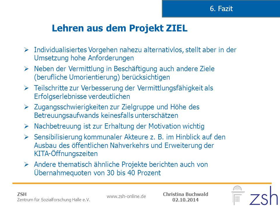 ZSH Zentrum für Sozialforschung Halle e.V. www.zsh-online.de Christina Buchwald 02.10.2014 Lehren aus dem Projekt ZIEL  Individualisiertes Vorgehen n