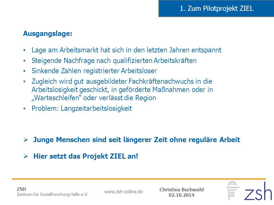 ZSH Zentrum für Sozialforschung Halle e.V. www.zsh-online.de Christina Buchwald 02.10.2014 Ausgangslage: Lage am Arbeitsmarkt hat sich in den letzten