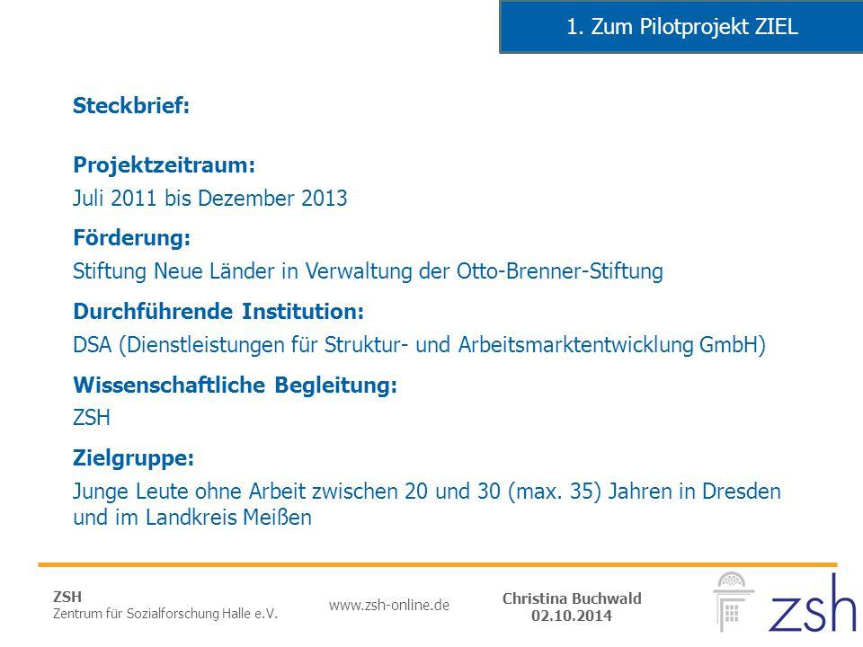 ZSH Zentrum für Sozialforschung Halle e.V. www.zsh-online.de Christina Buchwald 02.10.2014 Steckbrief: Projektzeitraum: Juli 2011 bis Dezember 2013 Fö