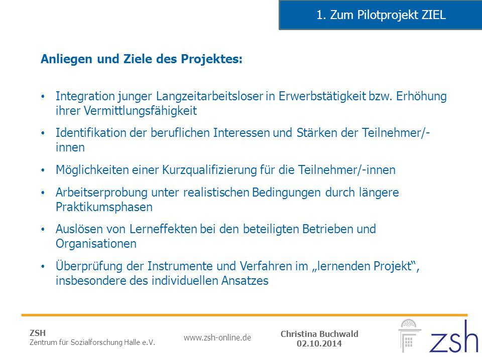 ZSH Zentrum für Sozialforschung Halle e.V. www.zsh-online.de Christina Buchwald 02.10.2014 Anliegen und Ziele des Projektes: Integration junger Langze