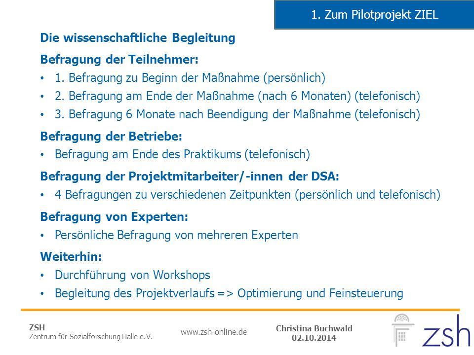 ZSH Zentrum für Sozialforschung Halle e.V. www.zsh-online.de Christina Buchwald 02.10.2014 Die wissenschaftliche Begleitung Befragung der Teilnehmer: